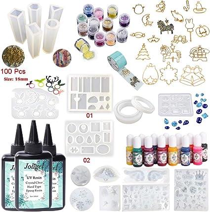 Resina Epoxi UV 300ML Transparente 18 Moldes 13 Tintes 17 ...