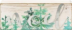 Mini Christmas Wood Box Sign with Galvanized Metal Word - Noel, Vintage Christmas Holiday Tabletop Home Decor