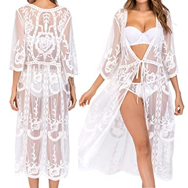 f0b65810b43 Summer Dresses DIKEWANG Maxi Dresses for Women Summer Chic Embroidery Lace  Crochet Knit Hollow-Out