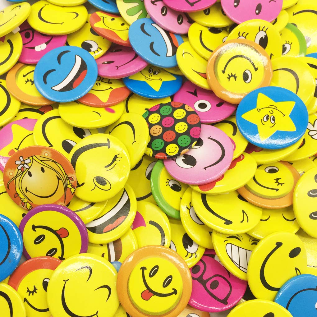 mini Smiley Smile Face Button Pins 100 Pieces Mini Buttons 1.2 Inch, Shipped Randomly