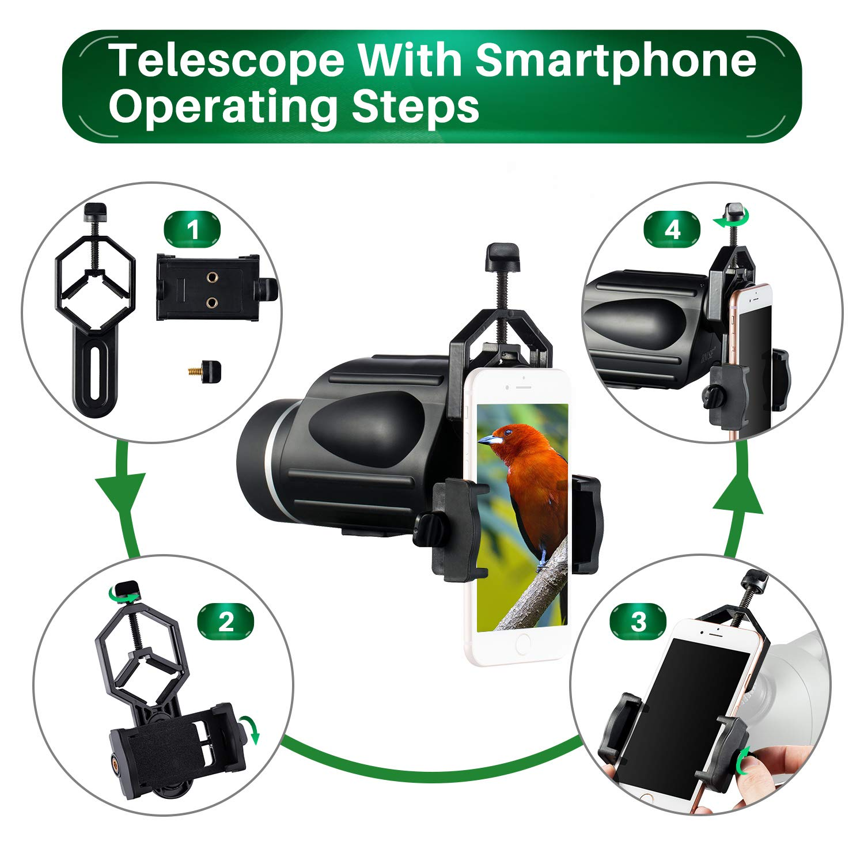 Adaptador para tel/éfono Inteligente Observaci/ón de Aves o Fauna Silvestre Resistente al Agua BNISE Monocular de Gran Potencia 13X50 antiniebla con medidor de Distancia
