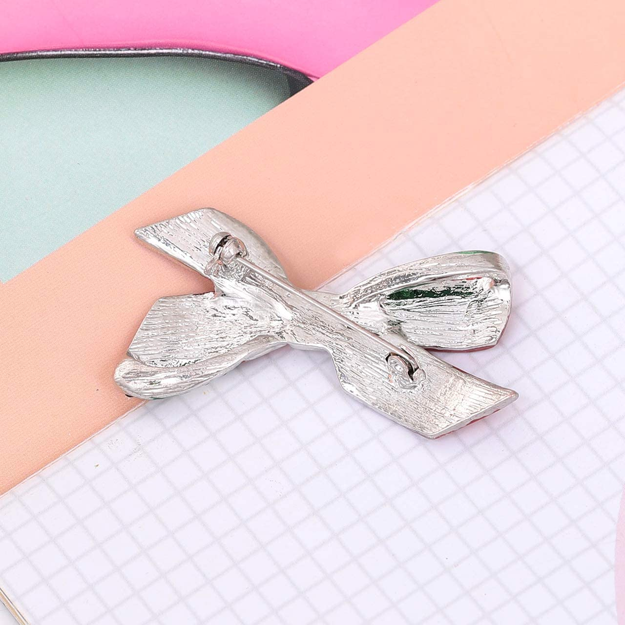 Christmas Bow-tie Bell Crystal Enamel Brooch Pin Xmas Jewelry Party Holiday Gift