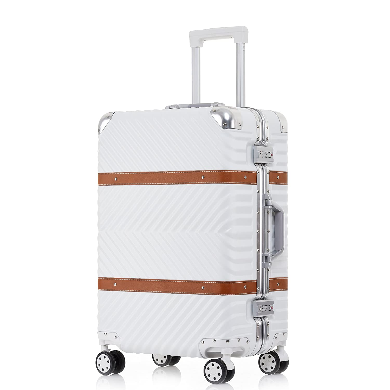 TABITORA(タビトラ) スーツケース 大型 8輪 TSAロック キャスター交換可能 止まれる 出張 軽量 大容量 静音 旅行用品 アルミフレーム B01LL271RA Mサイズ 中型54L 3~5泊|ホワイト ホワイト Mサイズ 中型54L 3~5泊