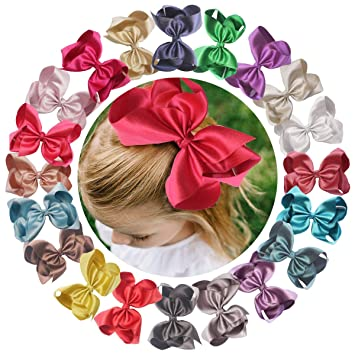 Set of 20 Grosgrain Hair Bow Alligator Ribbon Clips Large 6 Inch for Kids Teens