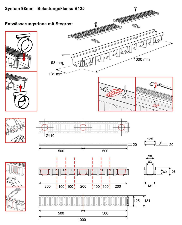 4m Entw/ässerungsrinne Belastungsklasse B125 98mm Gu/ßrost komplett SET