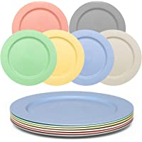 Gonioa 10inch Unbreakable Wheat Straw Plates,Steak Plate,6-Color Dinnerware Plate Set - Dishwasher & Microwave Safe-for…