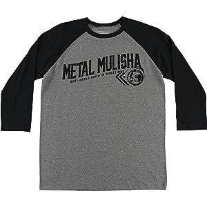 Metal Mulisha Mens Rider Raglan 3/4-Sleeve Shirt X-Large Charcoal Heather