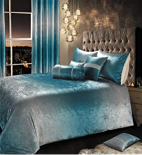 IHIdirect Luxury Crushed Velvet Ombre Teal Blue Silver Bedroom Co ...