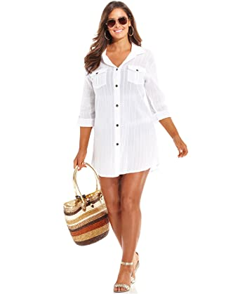 5813c75b266 Image Unavailable. Image not available for. Color: Dotti Womens Textured  Cotton Button-Down Swimsuit Cover ...