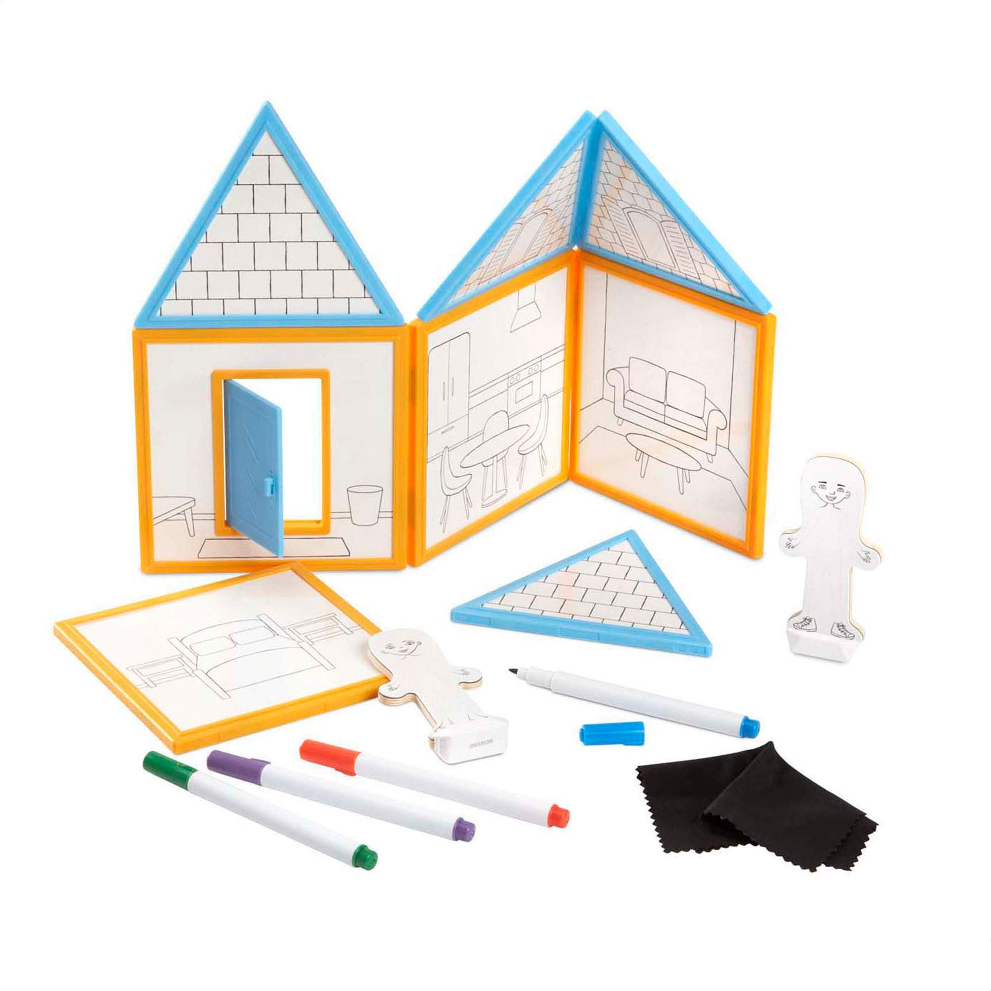 Melissa & Doug Magnetivity Magnetic Building Play Set - Draw & Build House (15 Pieces, 8 Panels, 4 Dry-Erase Markers, Great Gift for Girls and Boys - Best for 4, 5, 6, 7, 8, 9, and 10 Year Olds) by Melissa & Doug
