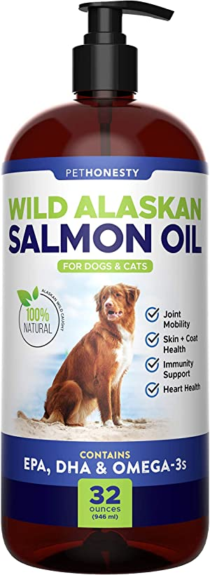 Wild Alaskan Salmon Oil for Dogs - Omega-3 for Dogs - Pet Liquid Food Supplement - EPA + DHA Fatty Acids Reduce Shedding & Itching - Supports Joints, Brain & Heart Health