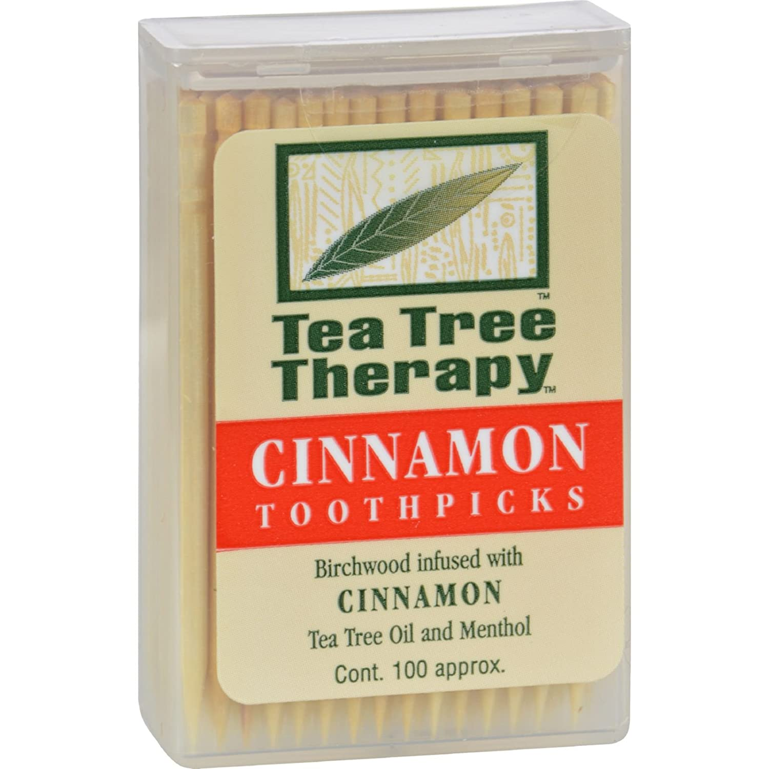 Cinnamon Tea Tree Toothpicks 100 count By Tea Tree Therapy - 12 Pack TeaTreeTherapy INC