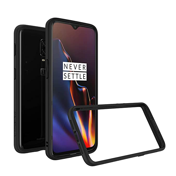 sports shoes a0d05 a8558 RhinoShield Bumper Case for OnePlus 6T [CrashGuard] | Shock Absorbent Slim  Design Protective Cover [3.5M/11ft Drop Protection] - Black