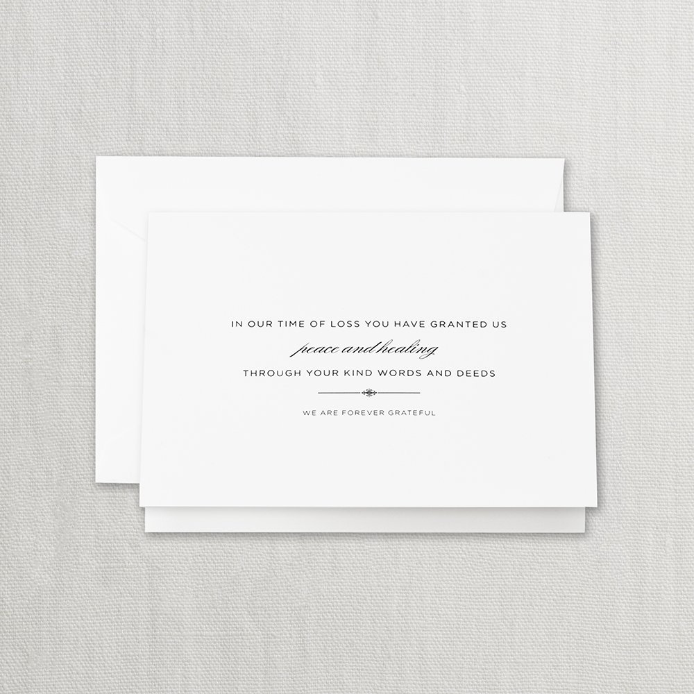 Crane & Co. Hand Engraved Sympathy Acknowledgement Note- Pack of 20 Cards