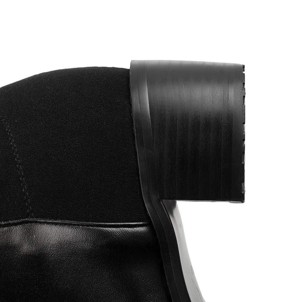 Botas Botas Botas Altas De Fondo Plano, Cabeza Redonda Botas Sobre La Rodilla Costura De Cuero Botas De Caballero Elástico Tubo Largo Plataforma Impermeable Zapatos Antideslizantes para Mujeres,Negro,41 dd74d0
