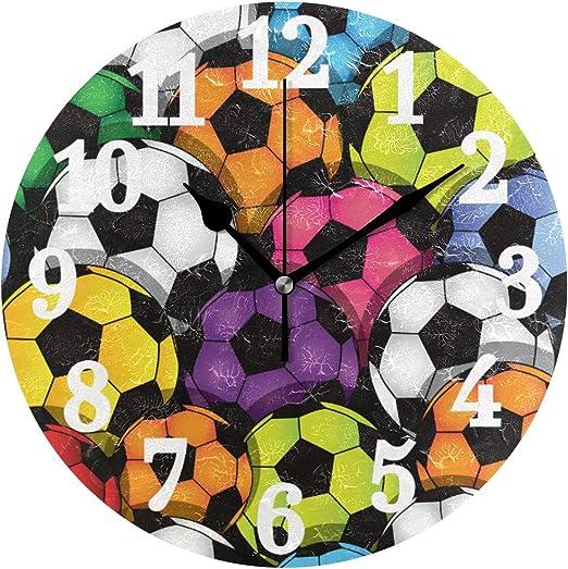 Ahomy Silent - Reloj de Pared Redondo, diseño de balón de fútbol ...