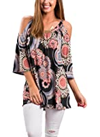MICHEN Women Casual Loose 3/4 sleeve Cold Shoulder Floral Print Top Blouses