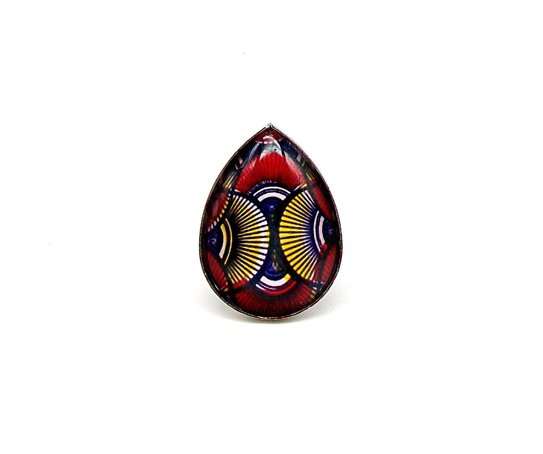 r/églable Bague cabochon ethnique femme cadeau pour elle rouge goutte * wax * africain jaune no/ël anniversaire. argent/é fantaisie