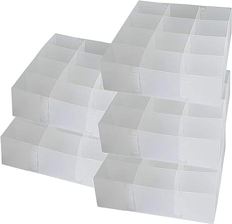 DynaSun PP51HA Juego de 5 Cajas Transparentes Multiusos, 12 Compartimentos, Organizador, Separador de cajones, Recipiente para Sujetadores, Ropa Interior, Calcetines: Amazon.es: Hogar