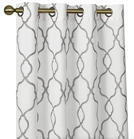 GoodGram 2 Pack Embroidered Semi Sheer Geometric Quatrefoil Grommet Top Window Curtains with Satin Backing for Privacy – Assorted Colors Sizes Gray, 84 in. Long