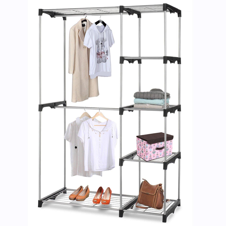 Generic YC-AUS2-150919-72 <8&14721> elf Rodrtable Clot Rack Portable Closet Organizer Clothes Hanger Storage Home Garment Shelf Rod Closet Orga