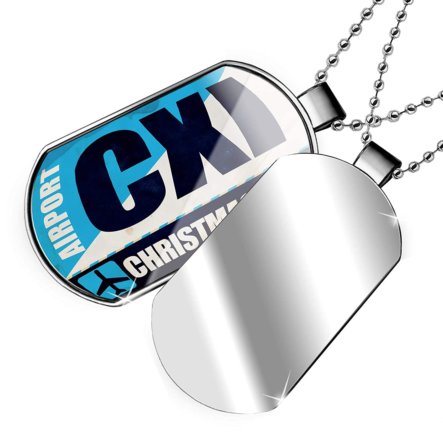NEONBLOND Personalized Name Engraved Airportcode CXI Christmas Line Dogtag Necklace