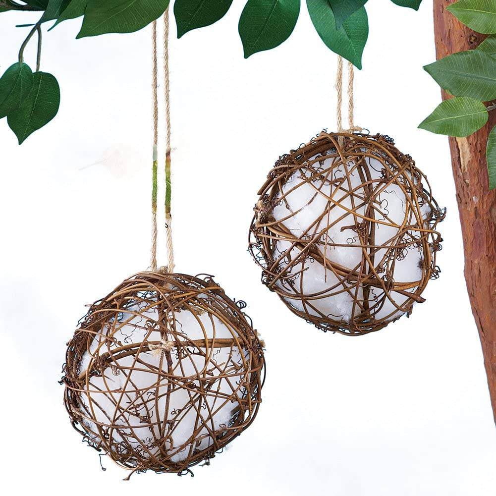 Collections Etc Set of 2 Rattan Globe Hummingbird Nesters - Gives Birds The Materials to Build a Nest Nearby