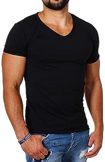 cb0f9a0c9578 CARISMA Herren Uni Basic T-Shirt mit Tiefem V-Ausschnitt Einfarbig Slimfit  Stretch Leicht