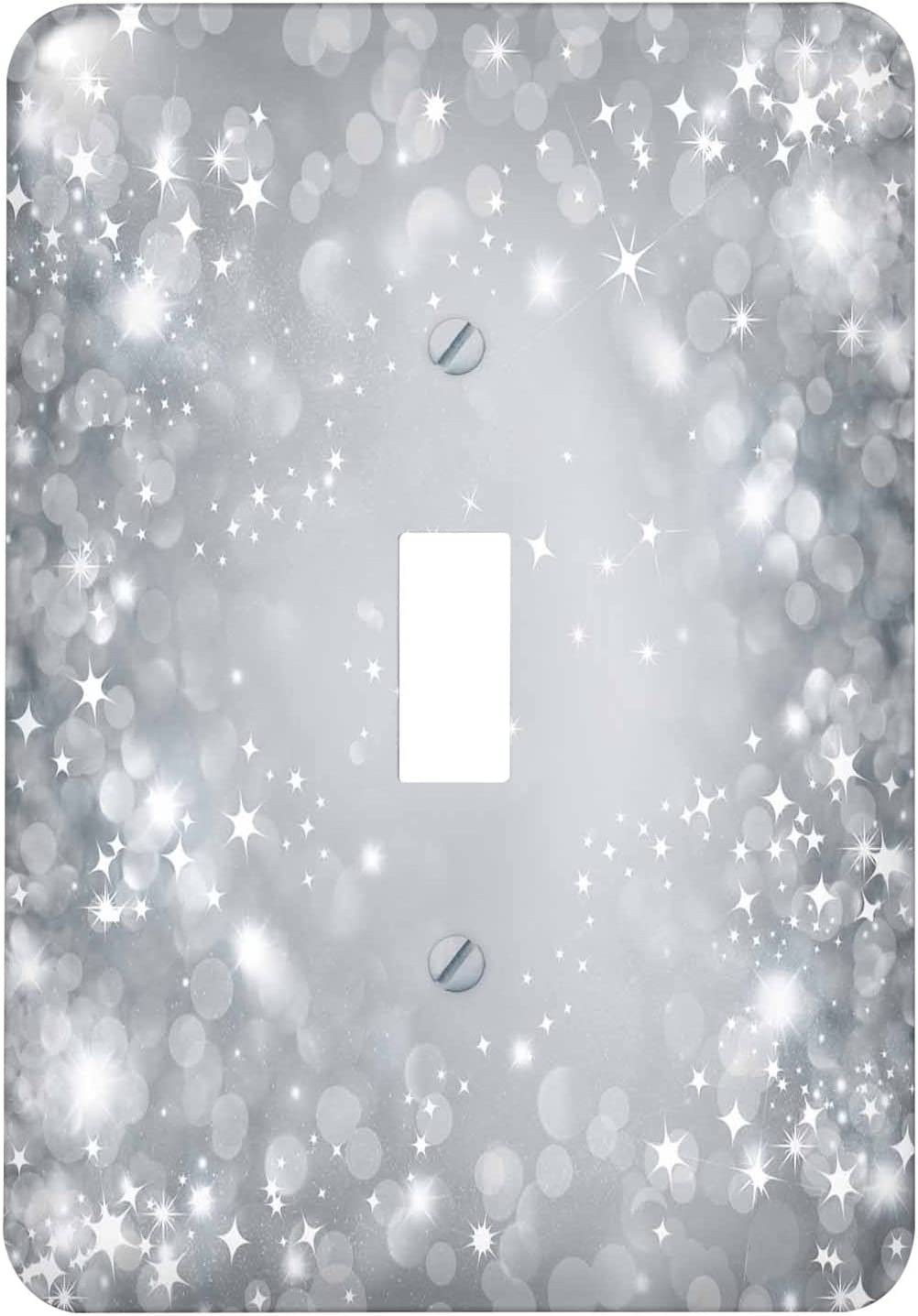 LSP/_222291/_1 White and Gray Sparkle Bokeh with Stars Single Toggle Switch 3dRose