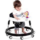 Kids&Koalas Foldable Baby Walker, Height Adjustable and Free Installation Learning Walker (Black)