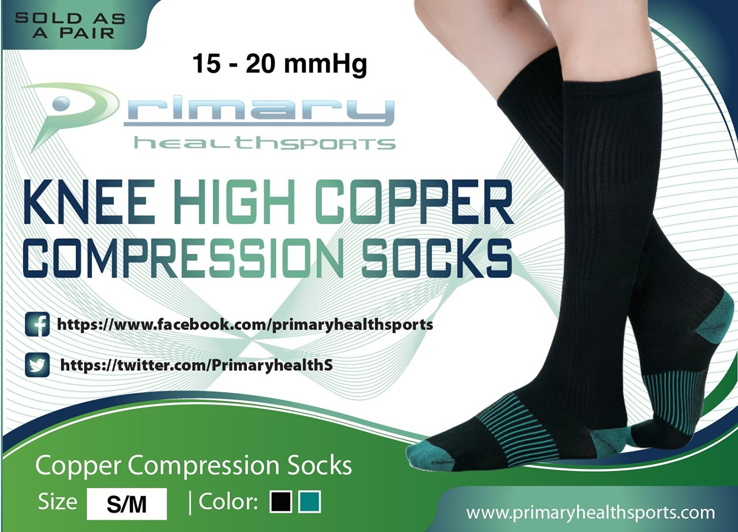 Primary Health Sports Best Compression Copper Socks - Great for Men, Women, Travelers, Nurses, Pregnancy - Protect & Support your Calves, Ankles, and Feet. Graduated Compression. 15-20mmhg by Primary Health Sports (Image #7)