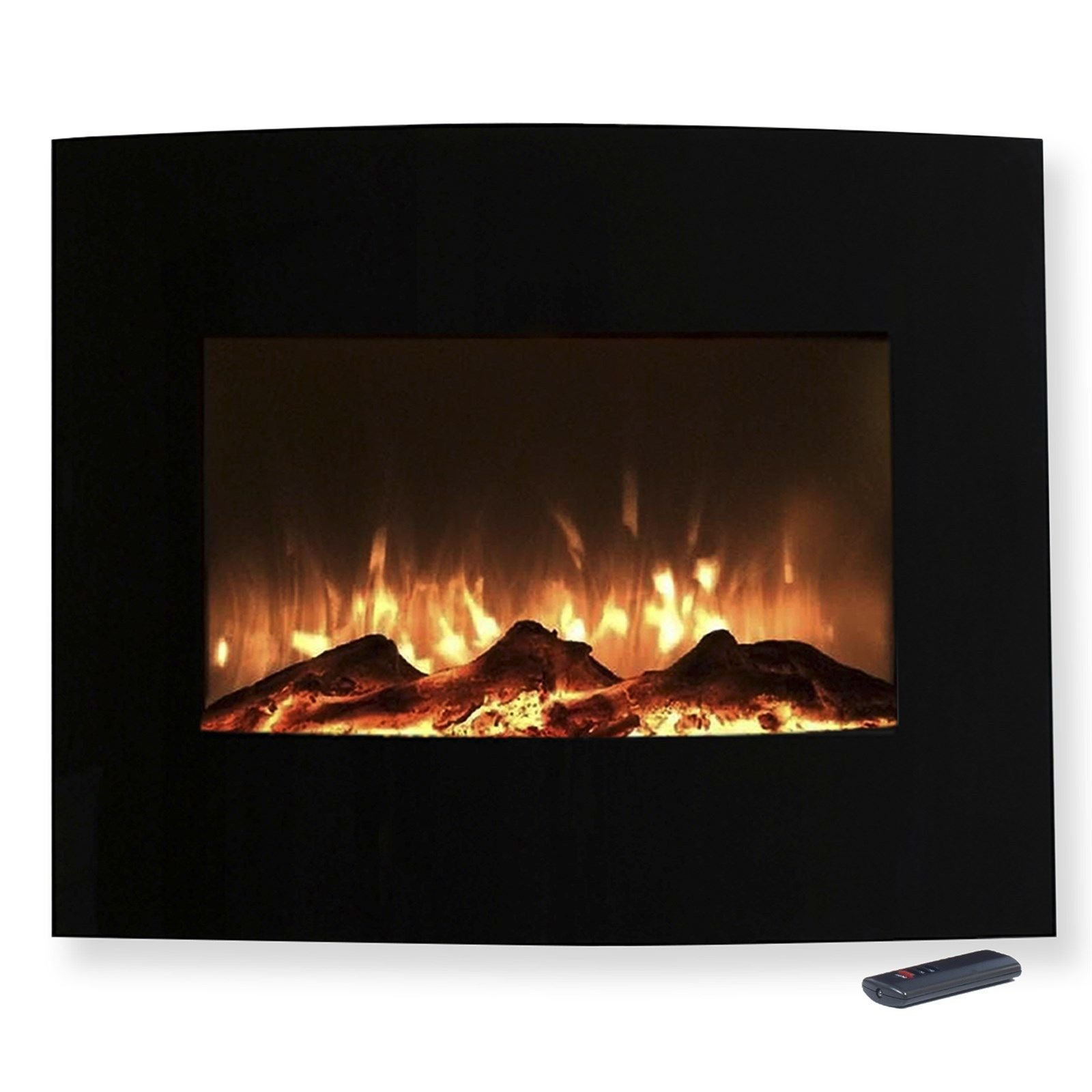 Mini Curved Black Fireplace Wall Mount & Floor Stand 25 x 20 Inches Remote by Love+Grace (Image #2)