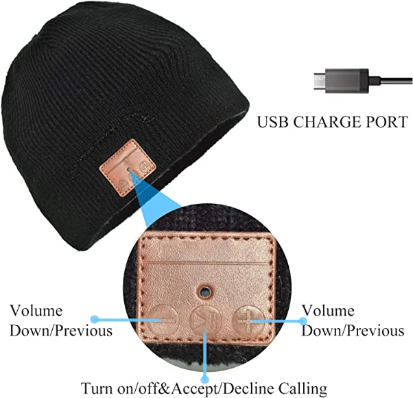 JIANYIJIA Auriculares Bluetooth Gorra,Bluetooth Beanie Hat Gorro ...