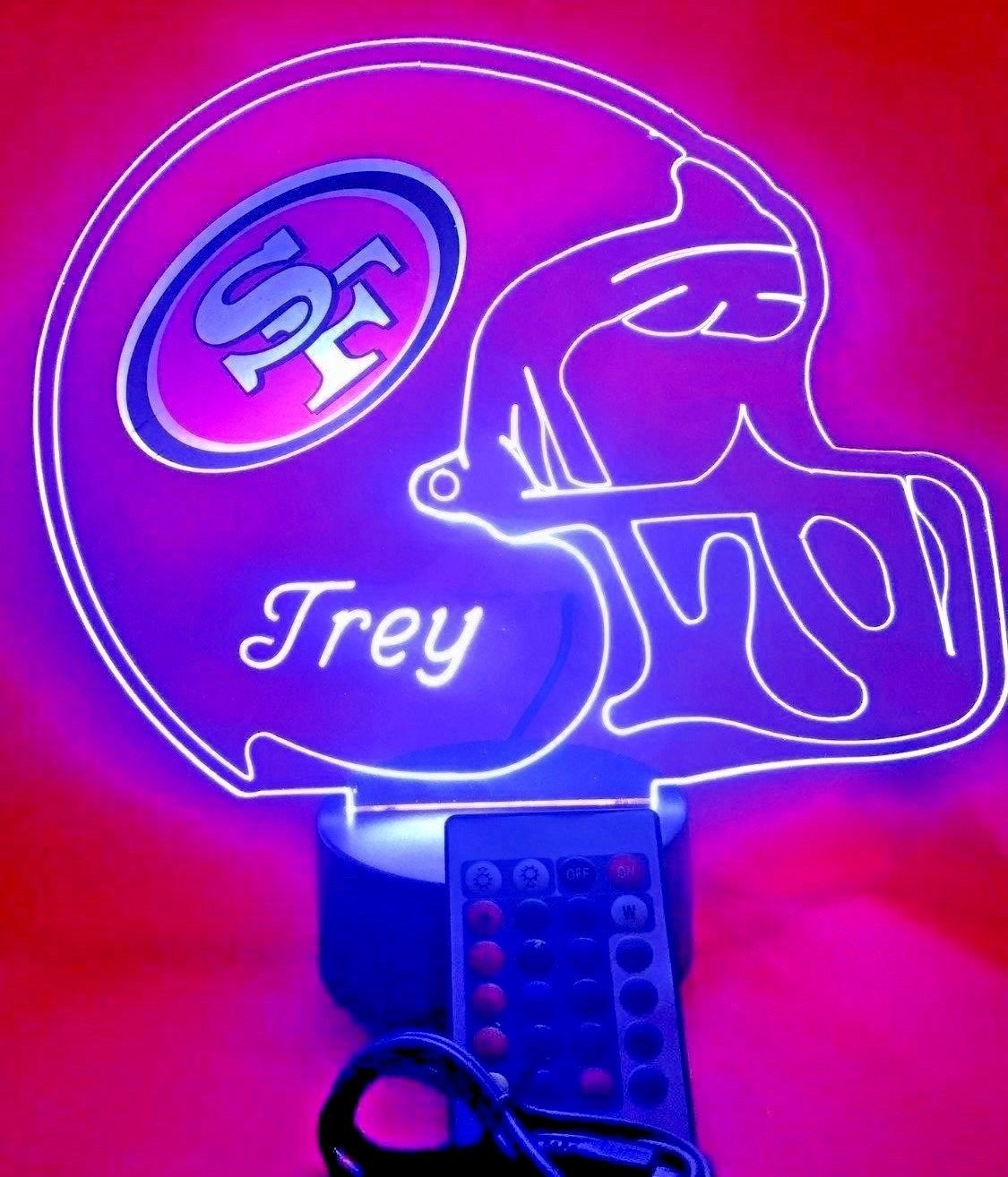 San Francisco 49ers NFL Light Up Lamp LED Personalized Free Football Light Up Light Lamp LED Table Lamp, Our Newest Feature - It's WOW, With Remote, 16 Color Options, Dimmer, Free Engraved, Great Gift Our Newest Feature - It' s WOW Mirror Mania