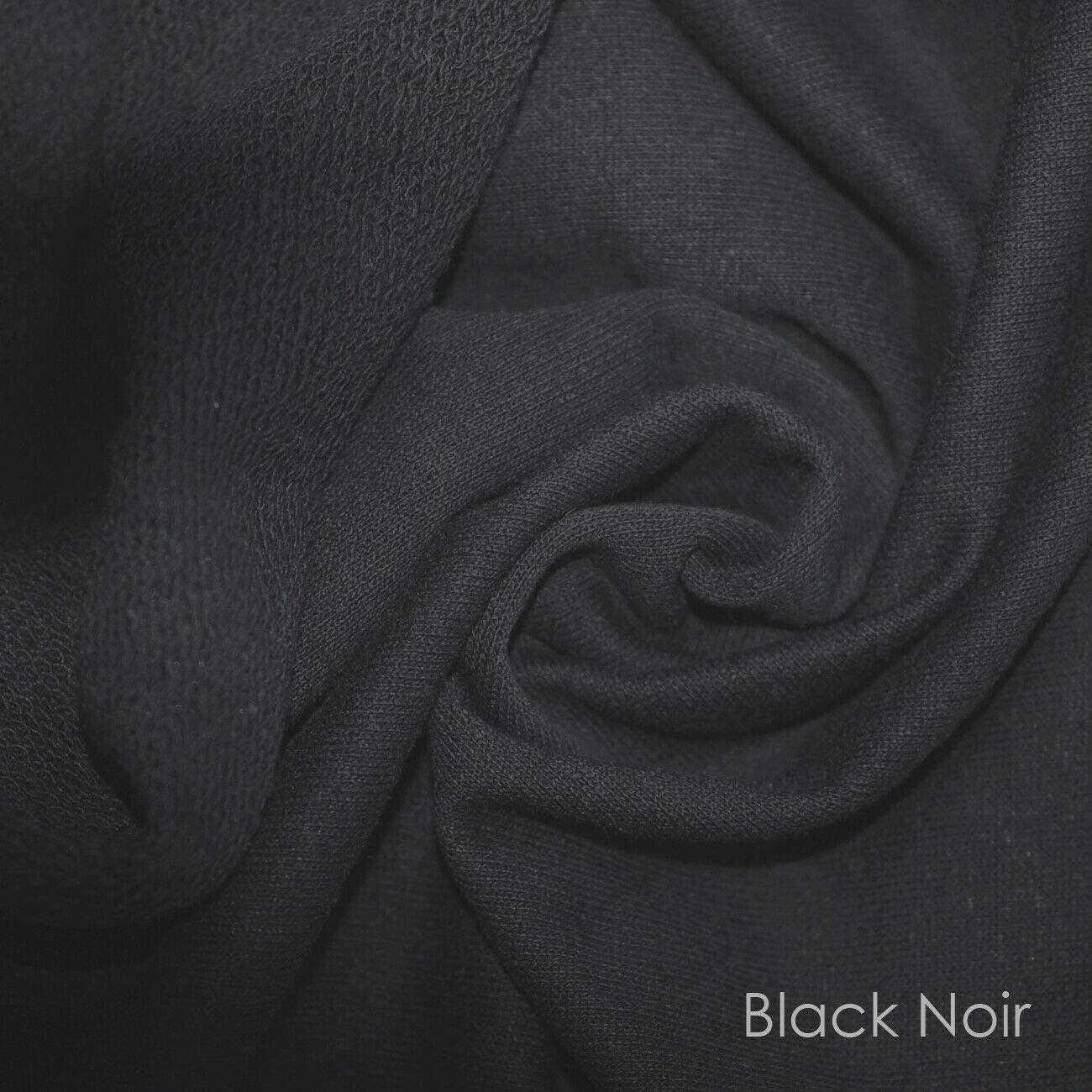 Sweatshirt Fabric Loop Back,British Made,Cotton Rich,French Terry Fabric /& Matching Rib.Authentic Sweatshirting Material Cloth by Neo Knitting.Width 178cms.Scoured Finish 1 Mt Fabric Black Noir