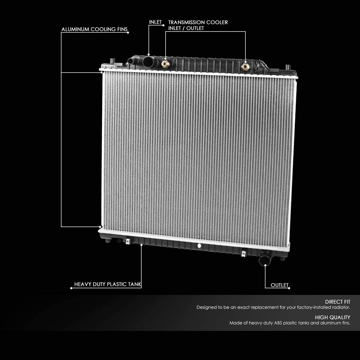 2171 Factory Style Aluminum Cooling Radiator for 99-05 Ford Excursion//F2550 F350 F450 F550 Super Duty//F53 6.8L//7.3L AT
