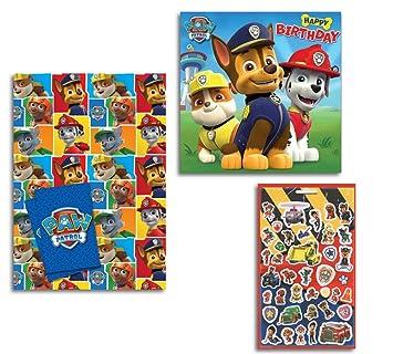 PAW PATROL Gift Wrap Happy Birthday Card Sticker Sheet Amazoncouk Toys Games