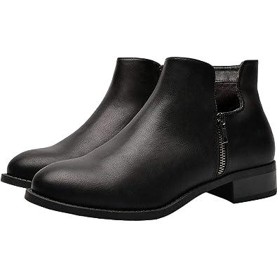 0f6bdf1d7b Women's Wide Width Ankle Boots, Chunky Block Low Heel Boots Slip On Side  Zipper Martin