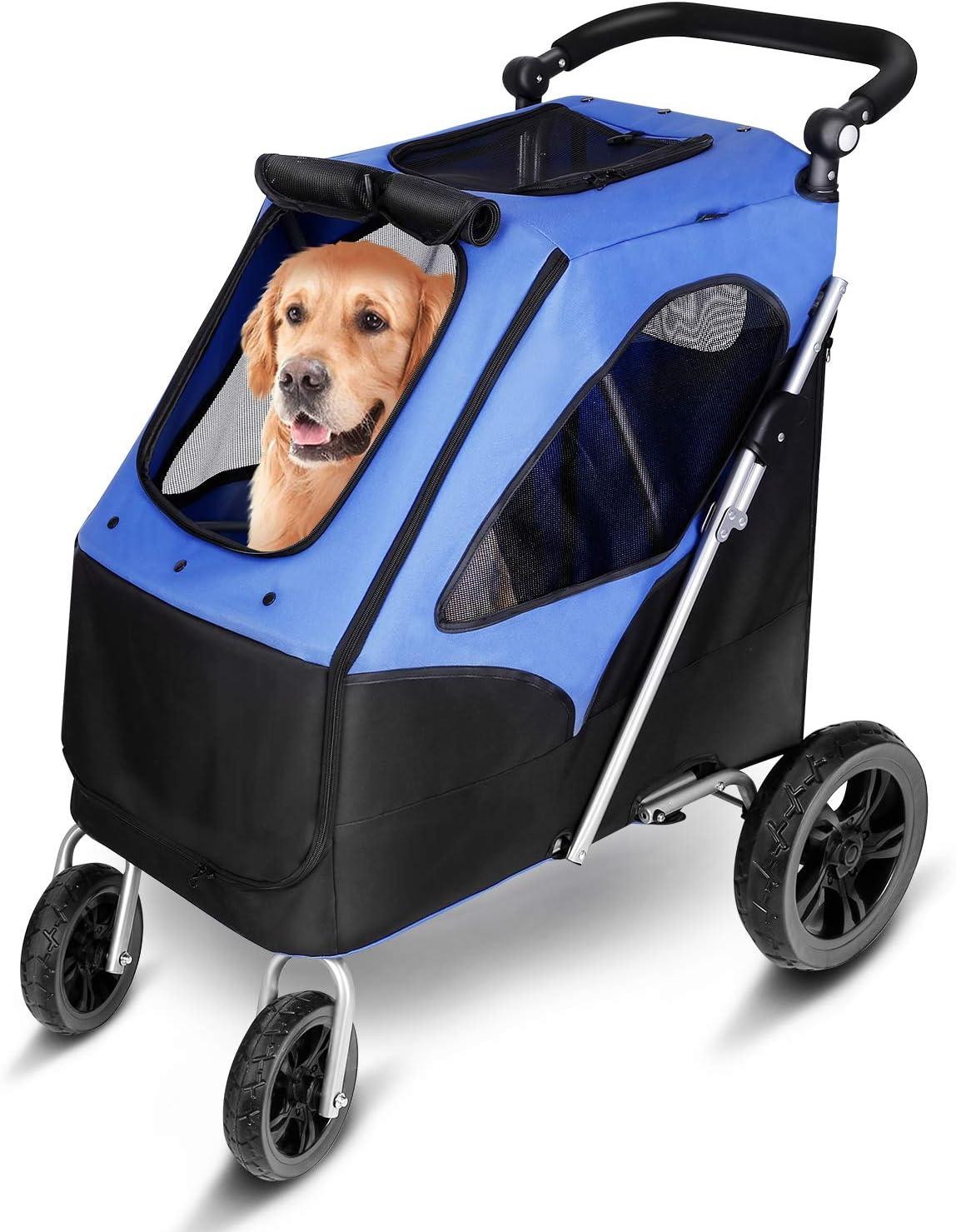 amzdeal - Cochecito para Perro Plegable con 4 Ruedas de EVA, Resistente al Agua, para Mascotas, Carga a 60 kg, para Perros medianos/Grandes y Gatos de Viaje, Resistente y Transpirable, Color Azul