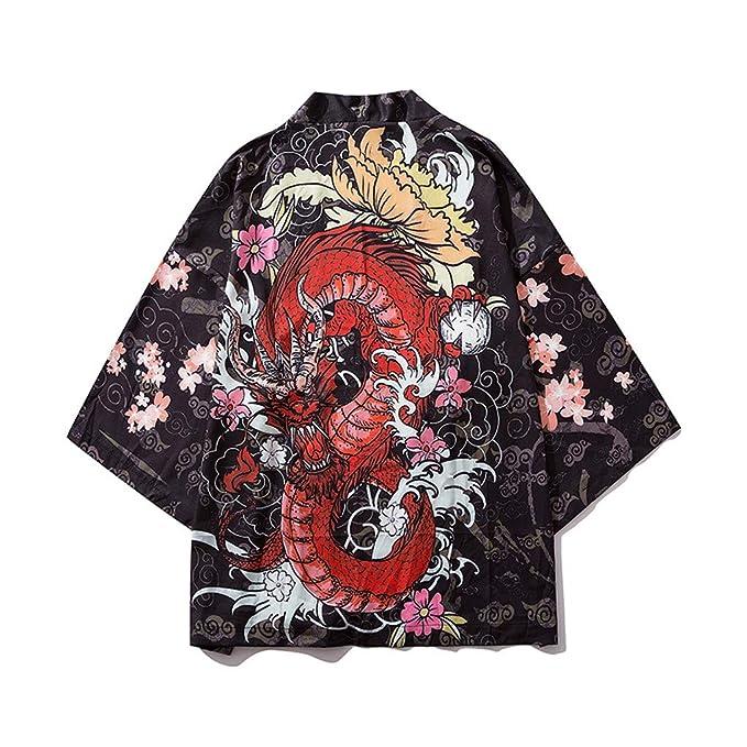 BBring Moda Masculina Hombres Kimono Pintura Japonés Dragón Cardigan Encubrir Frente Delantera del Mantón Unisex Parque Acuático SPA Traje Ligero ...