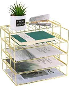 Hosaken Paper Tray, 4 Tier Stackable Letter Tray, Decorative Desk File Organizer Rack for Office Supplies and Accessories, Letter Size, Gold