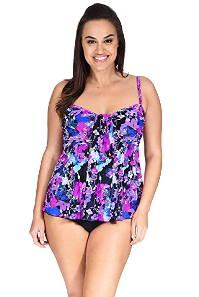 3fa8cd42059fc Mazu Swim Womens Plus Size Draped Bandeau Tankini Top (16W-24W) (18W ...
