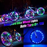 Bodyguard Bike Wheel Lights - Auto Open and Close - Ultra Bright LED - Bicycle Wheel Spoke / Light String (1 pack) - Colorful Bicycle Tire Accessories- Waterproof
