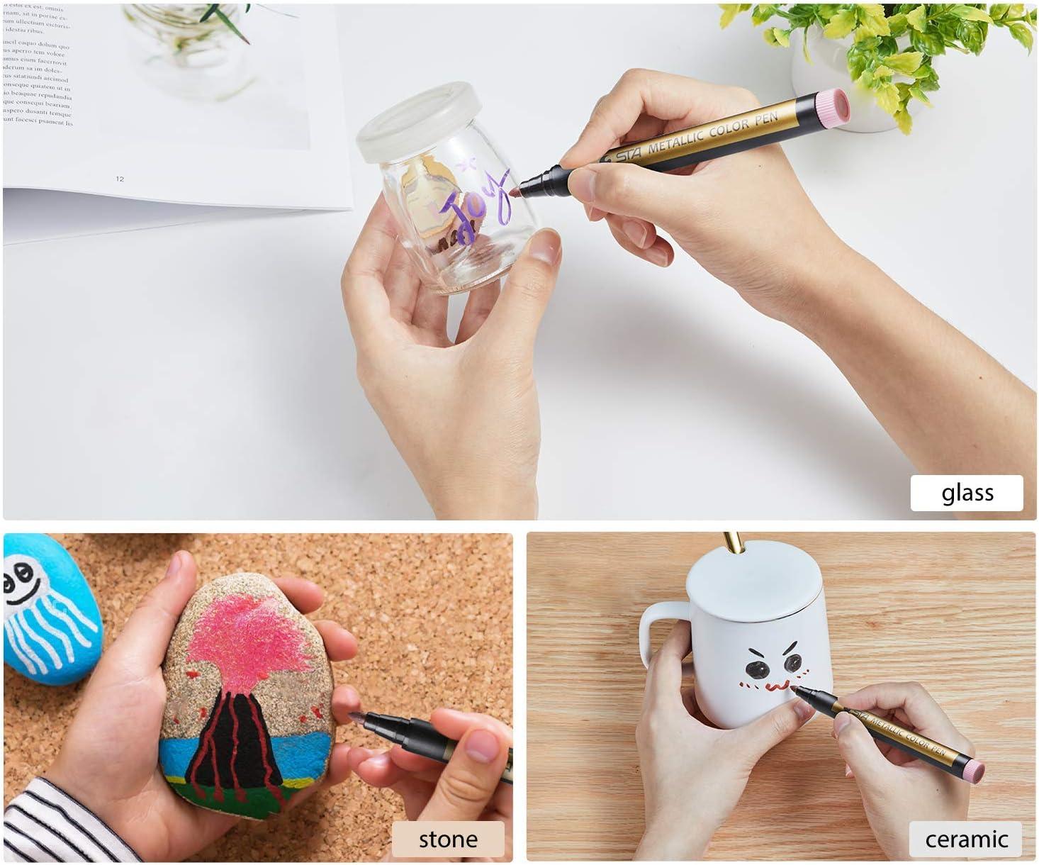 Premium Metallic Marker Pens Fine Tip Scrapbook Photo Album Glass Mothers Day Back To School Gifts Rock Art Coloring Books Ohuhu Set of 10 Glitter Paint Pen Window Marker for DIY Card Making