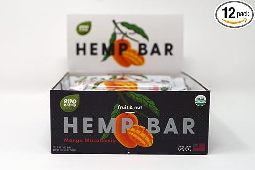 Evo Hemp Mango Macadamia Fruit & Nut Bar (Pack de 12, 1,7 oz ...