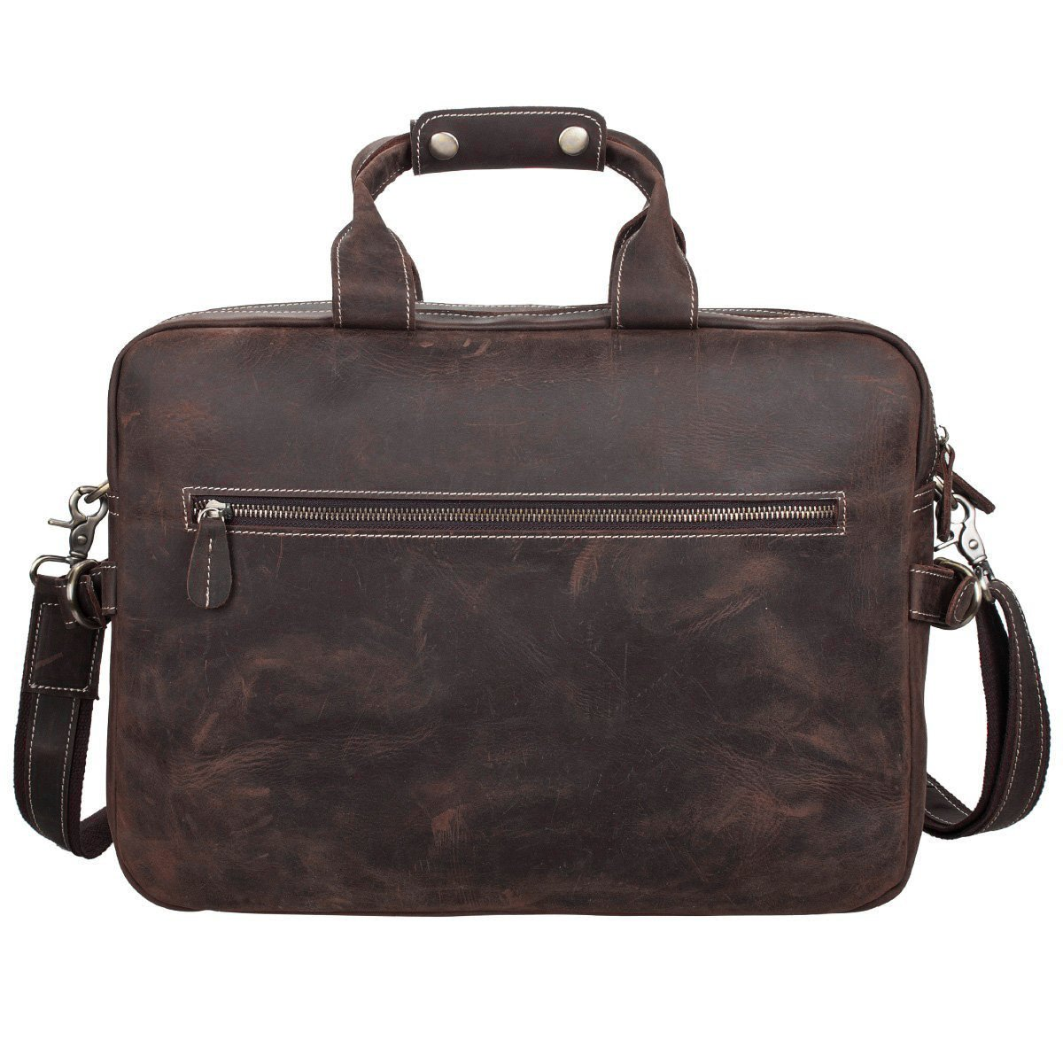 S-ZONE Crazy Horse Leather Shoulder Briefcase for 16 Inch Laptop Bag by S-ZONE (Image #5)