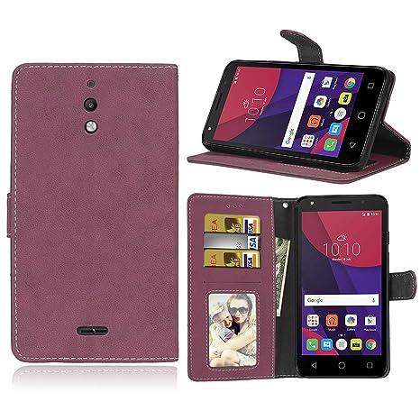 pinlu® Funda para Alcatel pixi 4 (6.0 Pulgada) 3G Version Función de Plegado Flip Wallet Case Cover Carcasa Piel Retro Scrub PU Billetera Soporte con ...