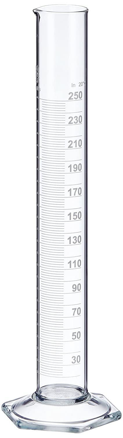 NeoLab E-1267  Measuring Cylinder, Tall pattern, Hex Foot, Class B Borosilicate Glass, 250 ml, Pack of 2