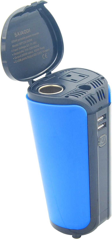 SAIAODI 200W Car Power Inverter with 2 USB Charging Ports Car Adapter
