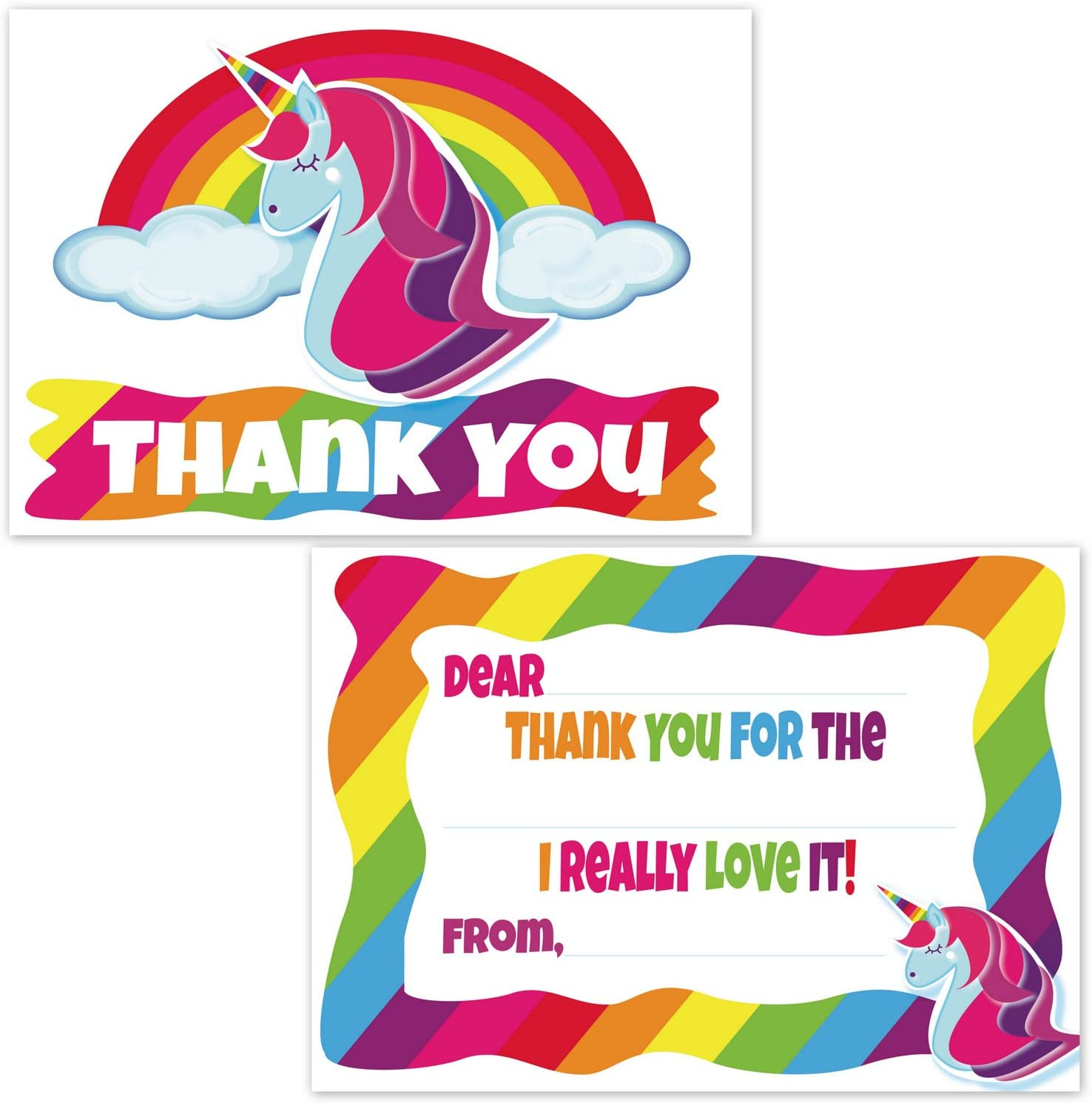 Rainbow Unicorn Fill In the Blank Thank You Cards Personalized \u2022 Flat Card Stationery Custom Printed Notecard \u2022 Birthday Party Baby Shower